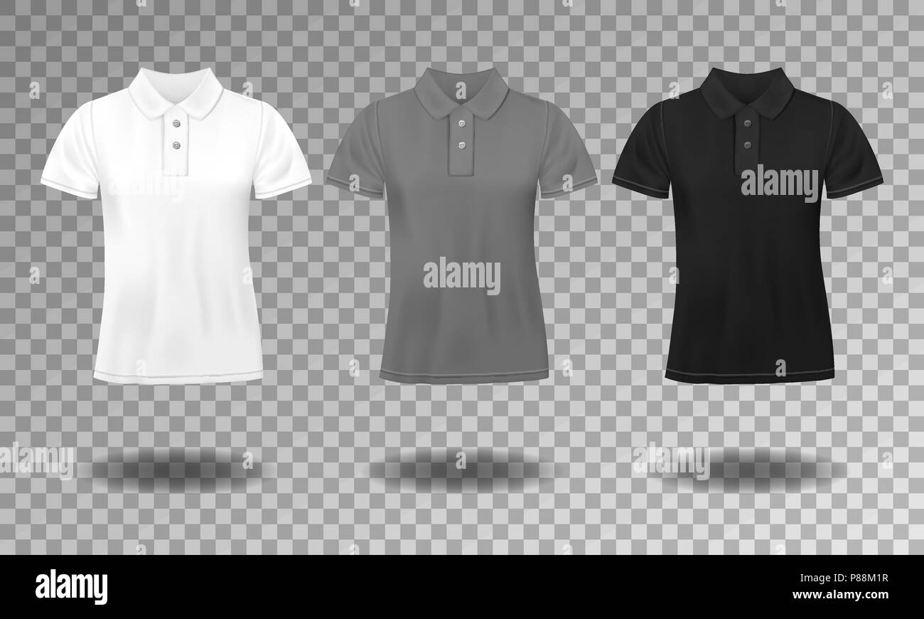 69c603bba Black, white and gray realistic slim male polo t-shirt design template. Set