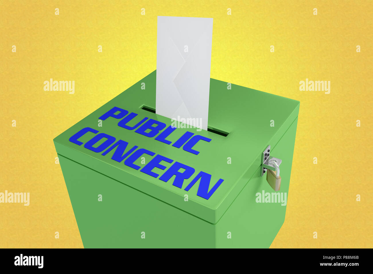 3D illustration of PUBLIC CONCERN script on a ballot box, and an voting envelope been inserted into the ballot box, isolated over a yellow gradient. - Stock Image