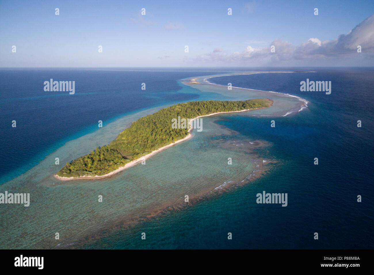 Aerial view of Anchorage Island in Suwarrow Atoll, Cook Islands - Stock Image