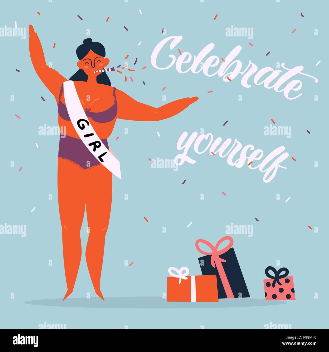 Celebrate yoursel woman feminine greeting card - Stock Vector