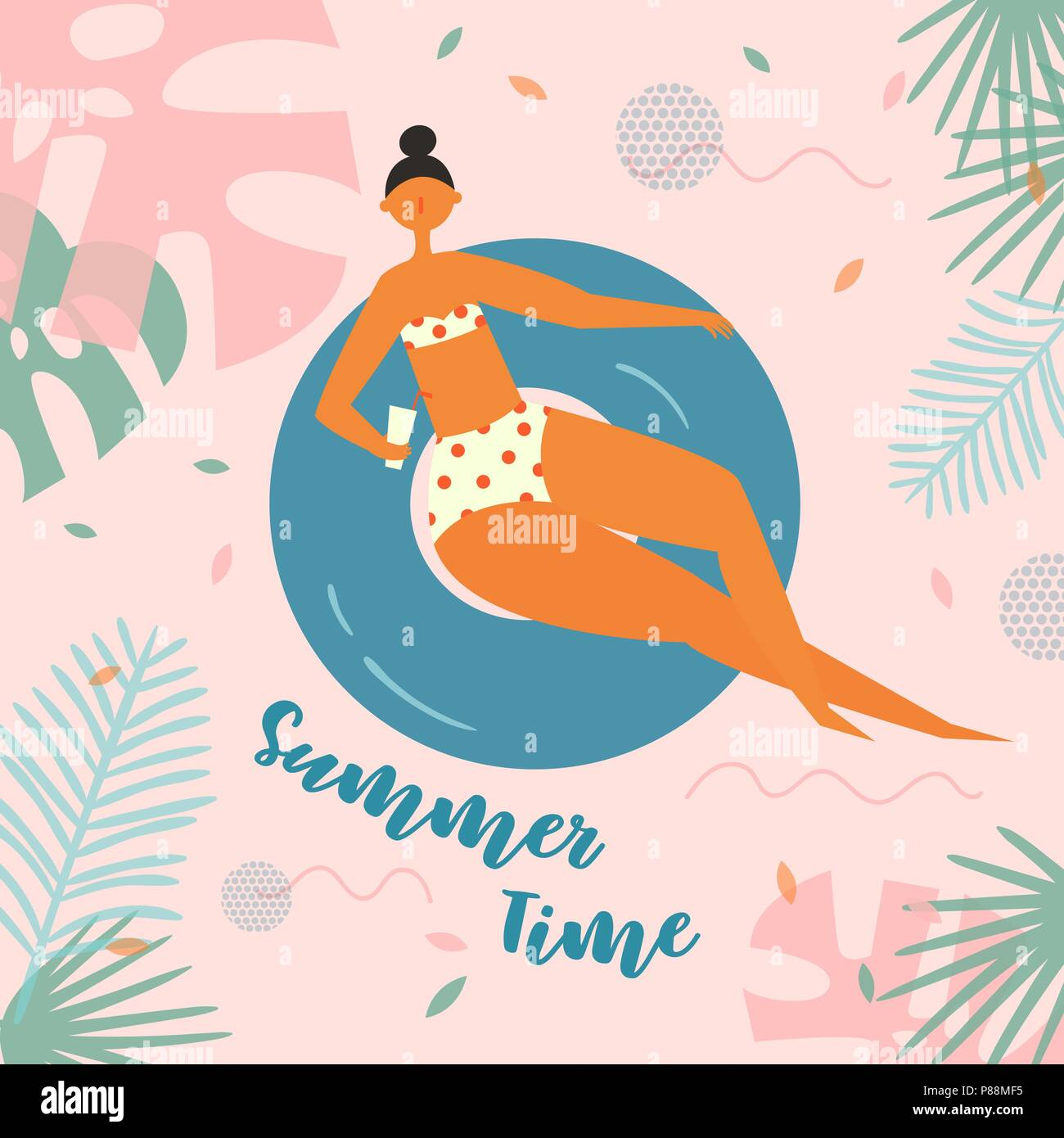 Pretty relaxed woman swimming on inflatable circle - Stock Vector