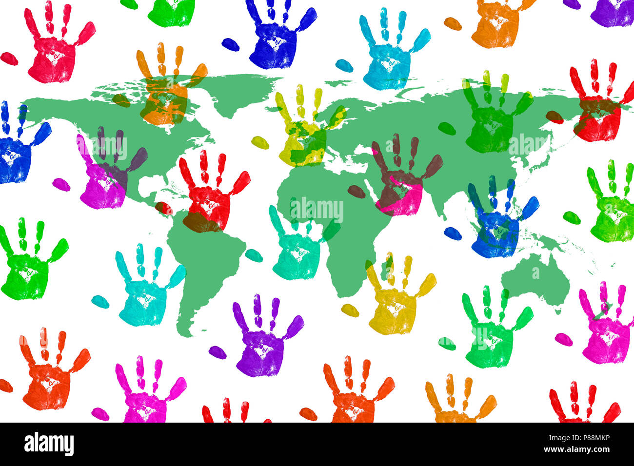 An Image Of A Worldmap On Handprint Background Stock Photo
