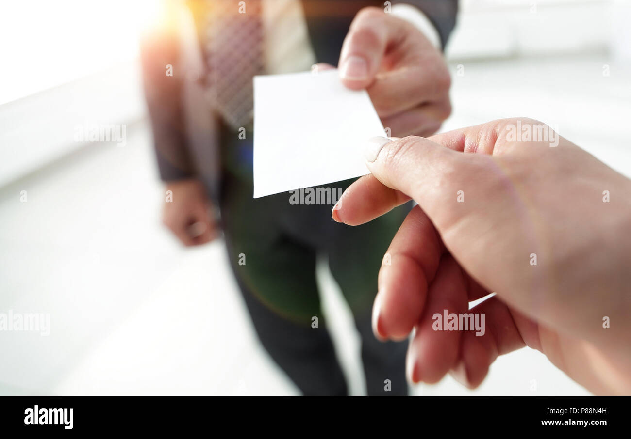 Exchange business card for first time meet - Stock Image