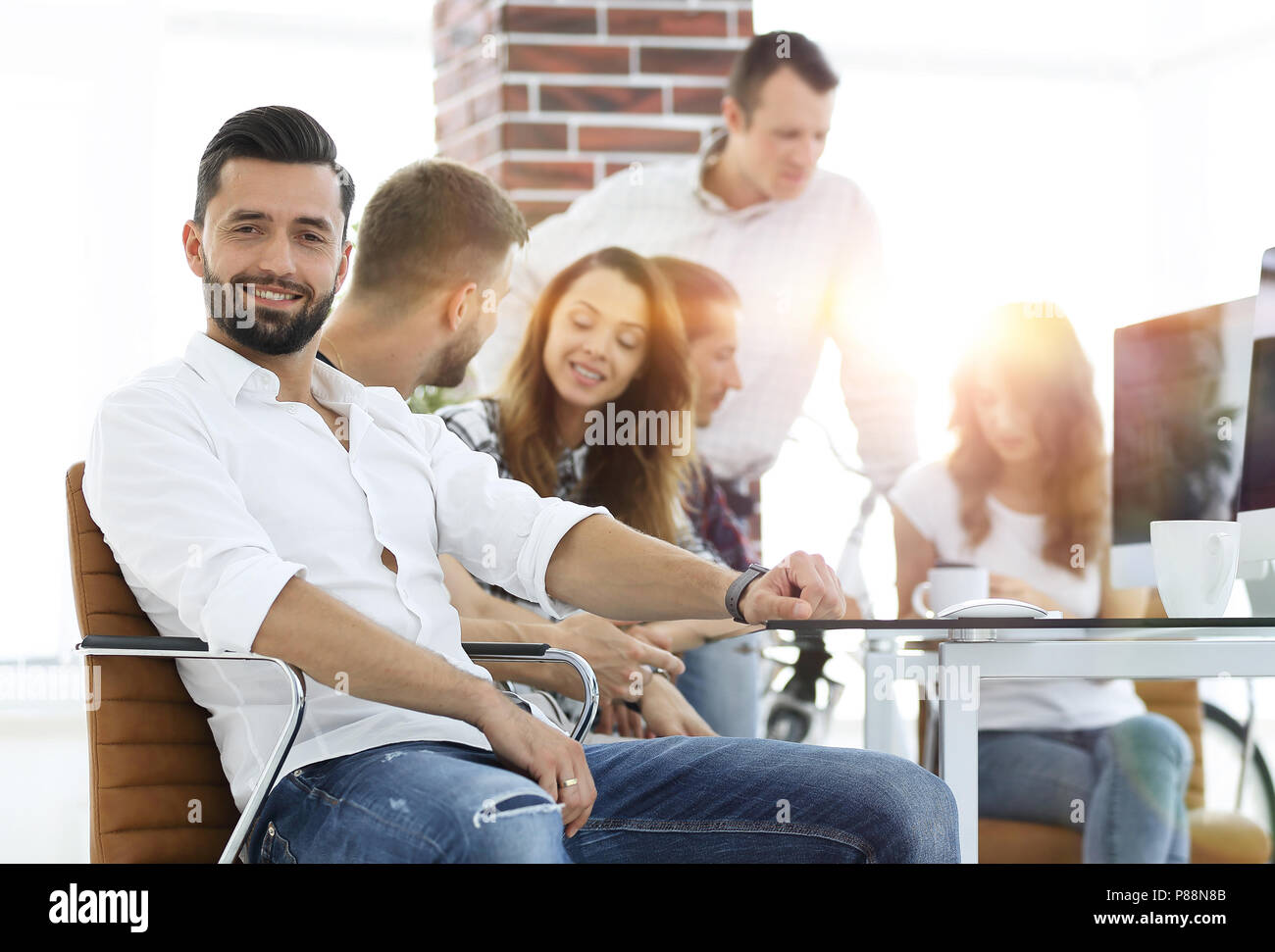 businessman and his creative team working - Stock Image