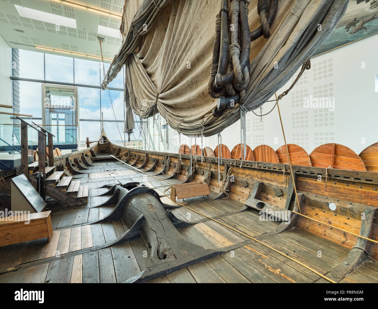 18 April 2018: Keflavik, Iceland - On board the Islendingur, a replica of the Gokstad Viking Ship at Viking World museum. - Stock Image