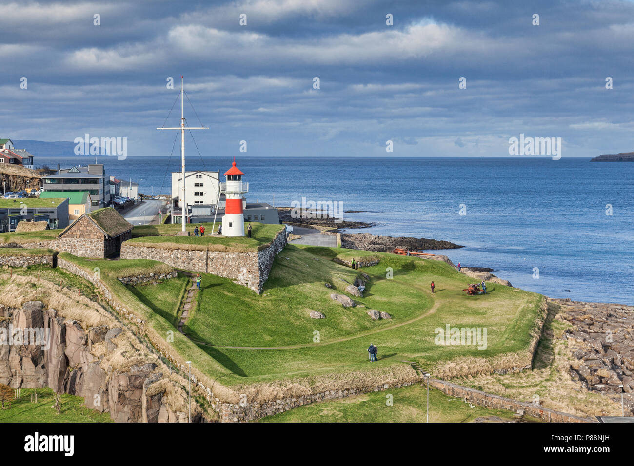 26 April 2018: Torshavn Faroe Islands - Historic Skansin Fortress and Lighthouse. - Stock Image