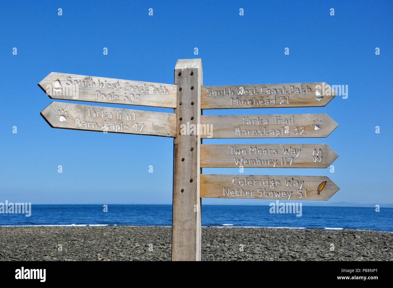 Signpost for footpath routes, Lynmouth, North Devon, England, UK - Stock Image