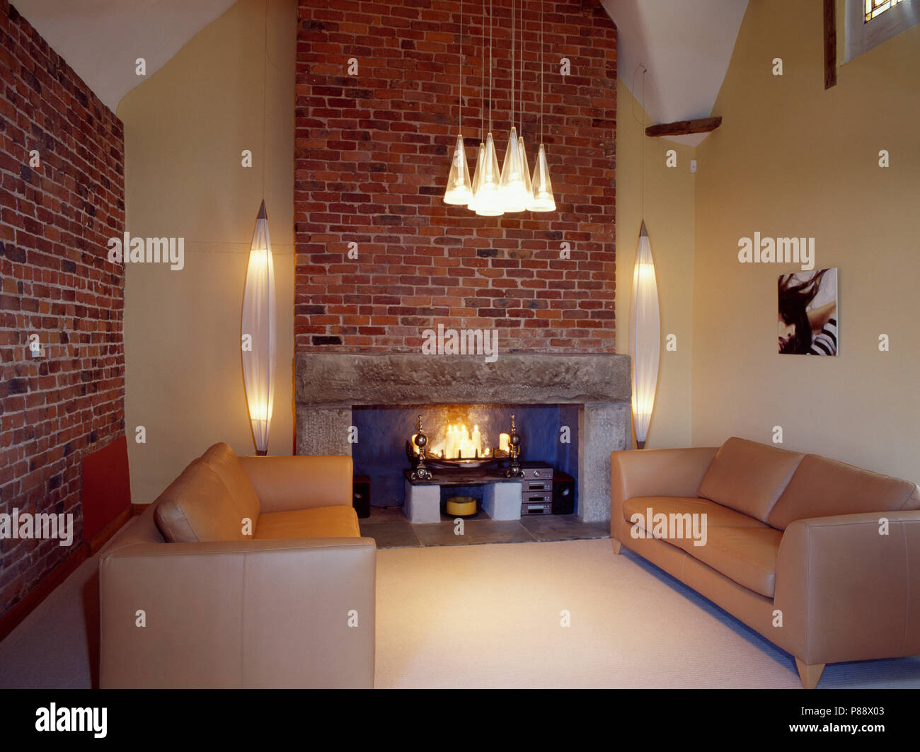 Remarkable Leather Sofas In Modern Country Living Room With Fireplace Dailytribune Chair Design For Home Dailytribuneorg
