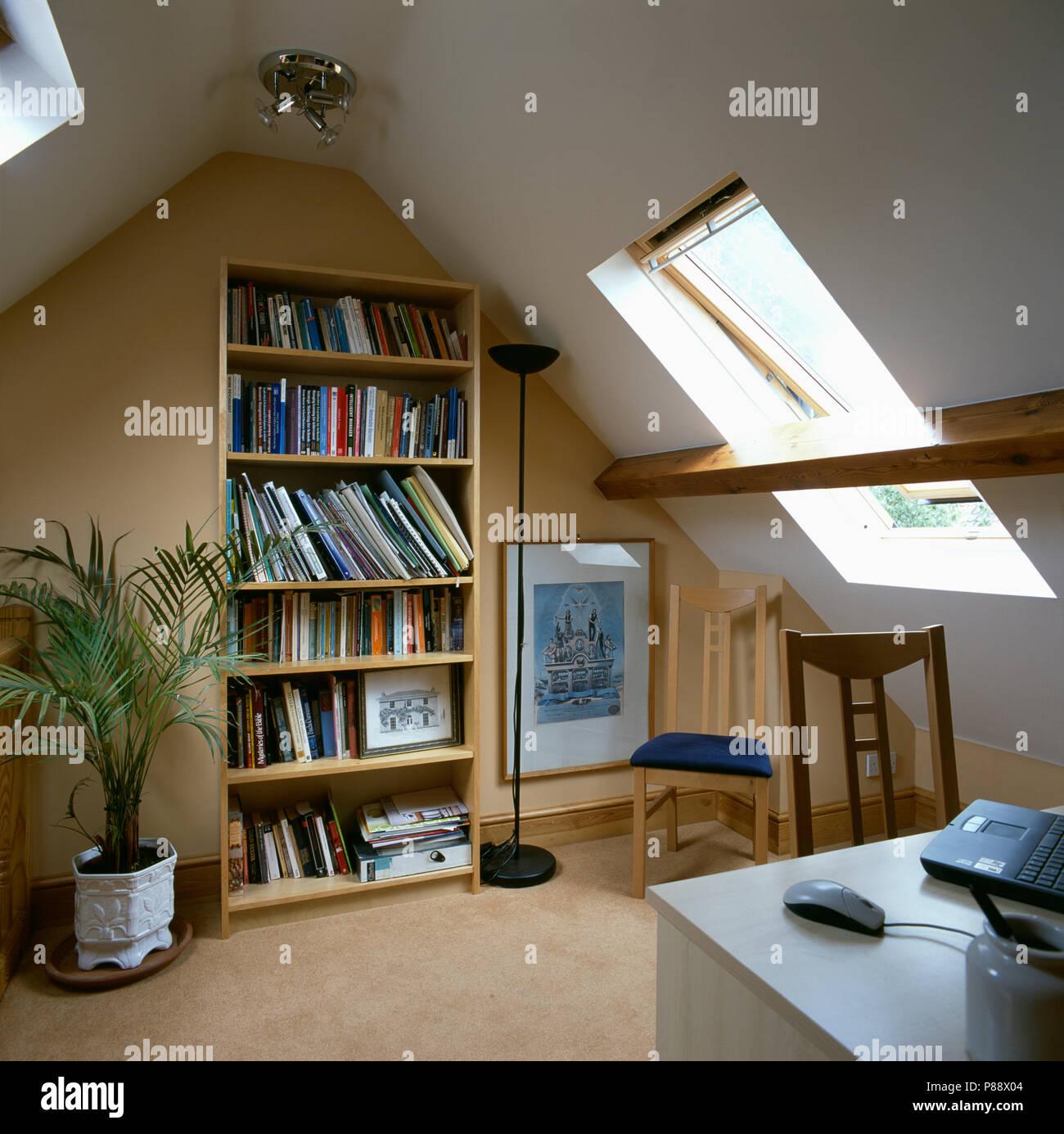 freestanding bookshelves in home office in converted loft - Free Standing Bookshelves
