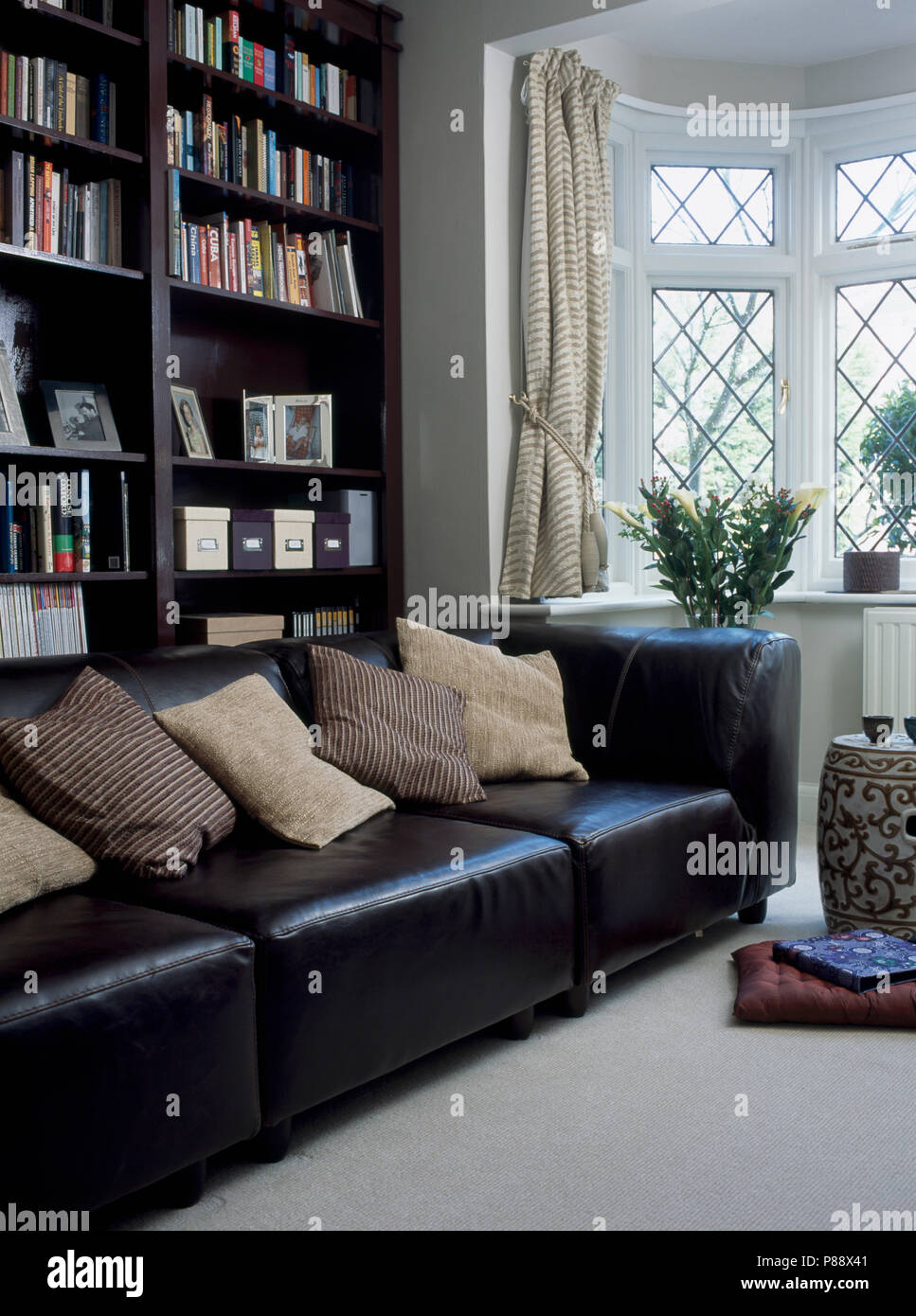 Black Leather Sofa With Cream Cushions In Front Of Black Bookshelves