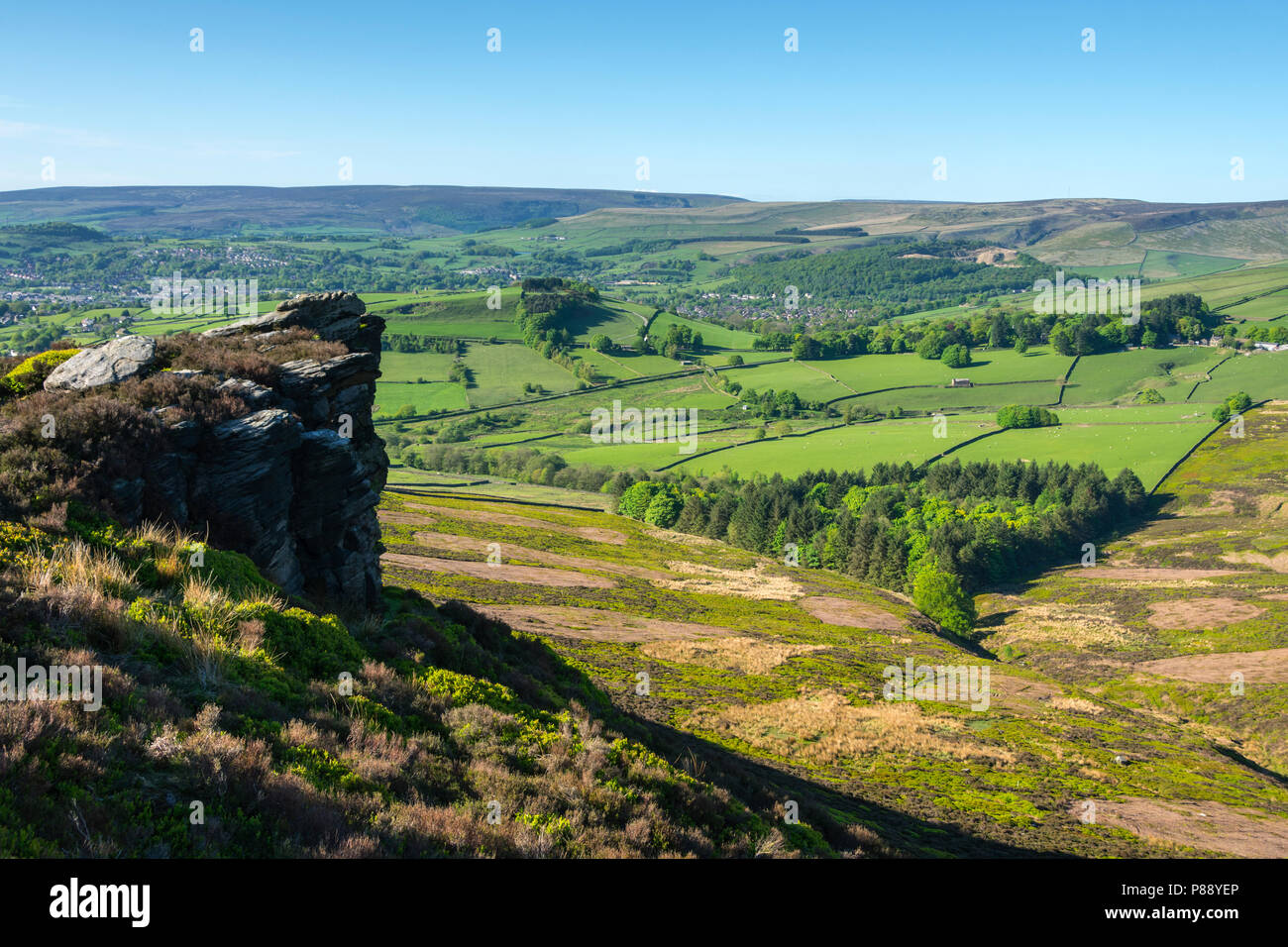 The Longdendale Moors from the Worm Stones, Shaw Moor on Chunal Moor, near Glossop, Peak District, Derbyshire, England, UK. - Stock Image