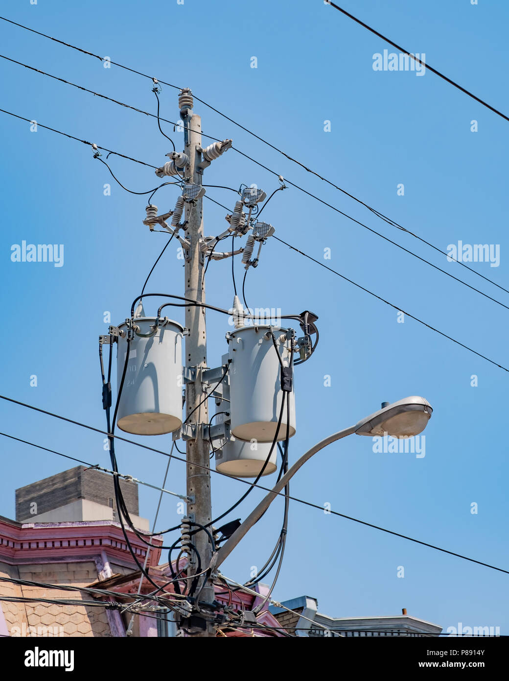 Part of the overhead electrical grid of Toronto Ontario Canada. - Stock Image