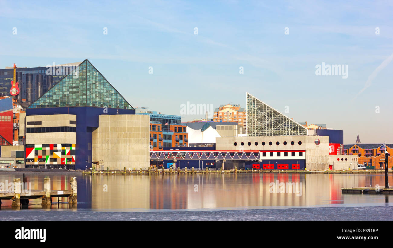 National Aquarium buildings at Inner Harbor pier on January 31, 2014 in Baltimore, USA. - Stock Image