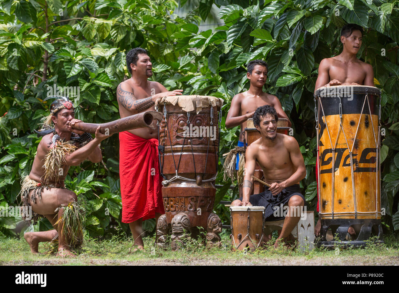 Male Drummers on Marquesas Islands - Stock Image