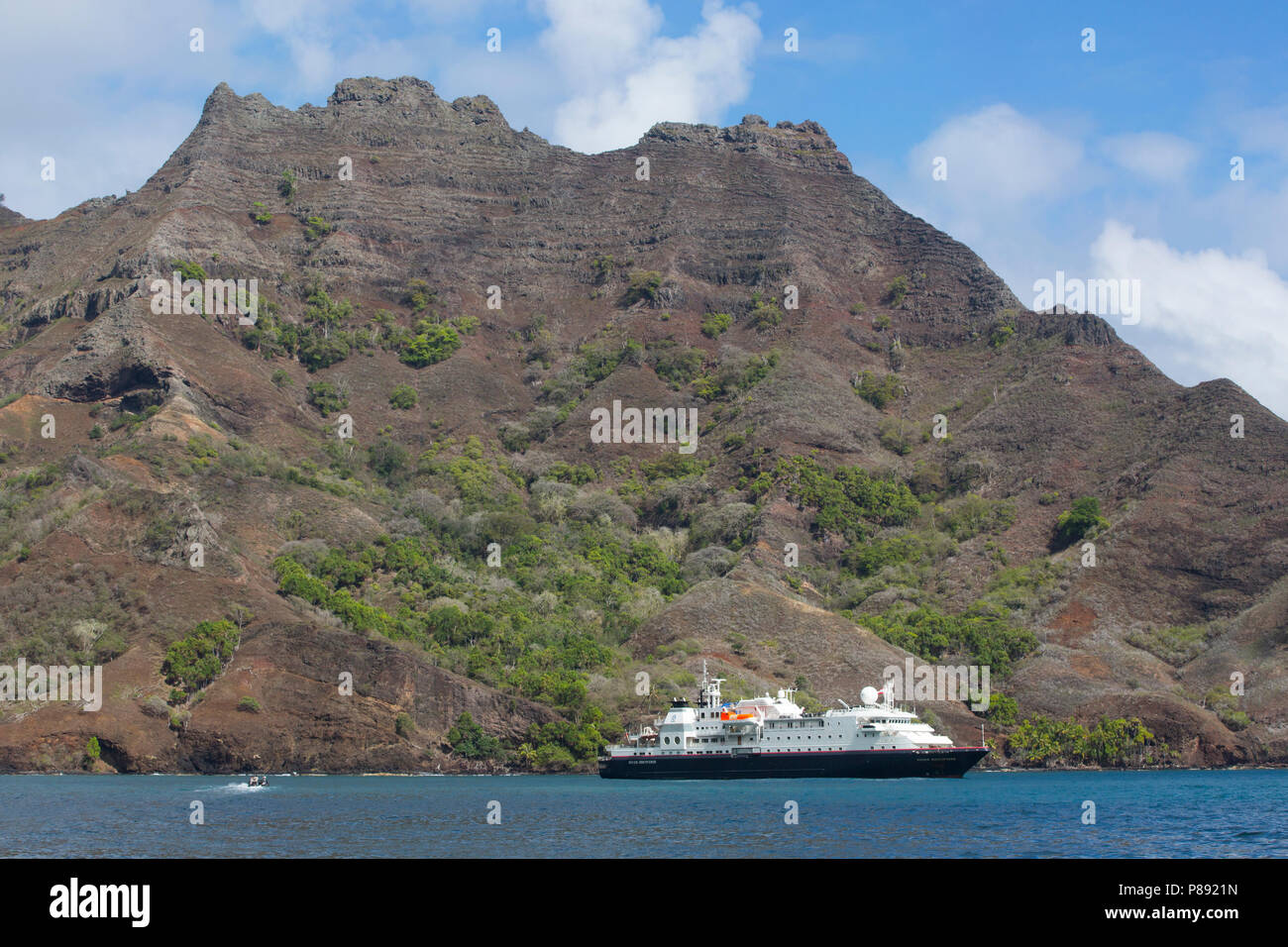 Cruise Ship at Hiva Oa, Marquesas Islands - Stock Image