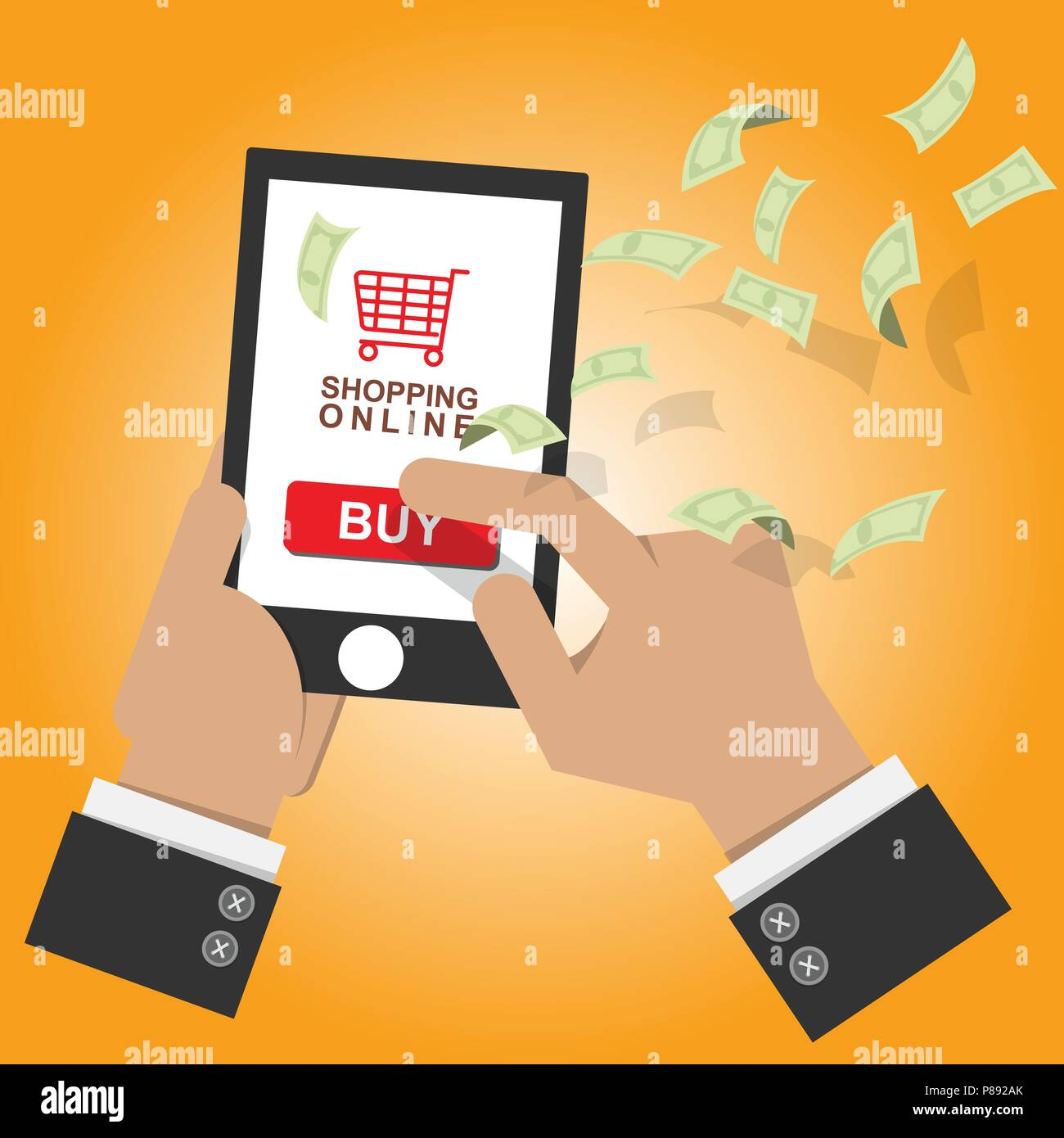 8a192b29 vector illustration. online shop icon on mobile smart phone with screen  sell and buy with money bank note flow at background. online shopping  concept