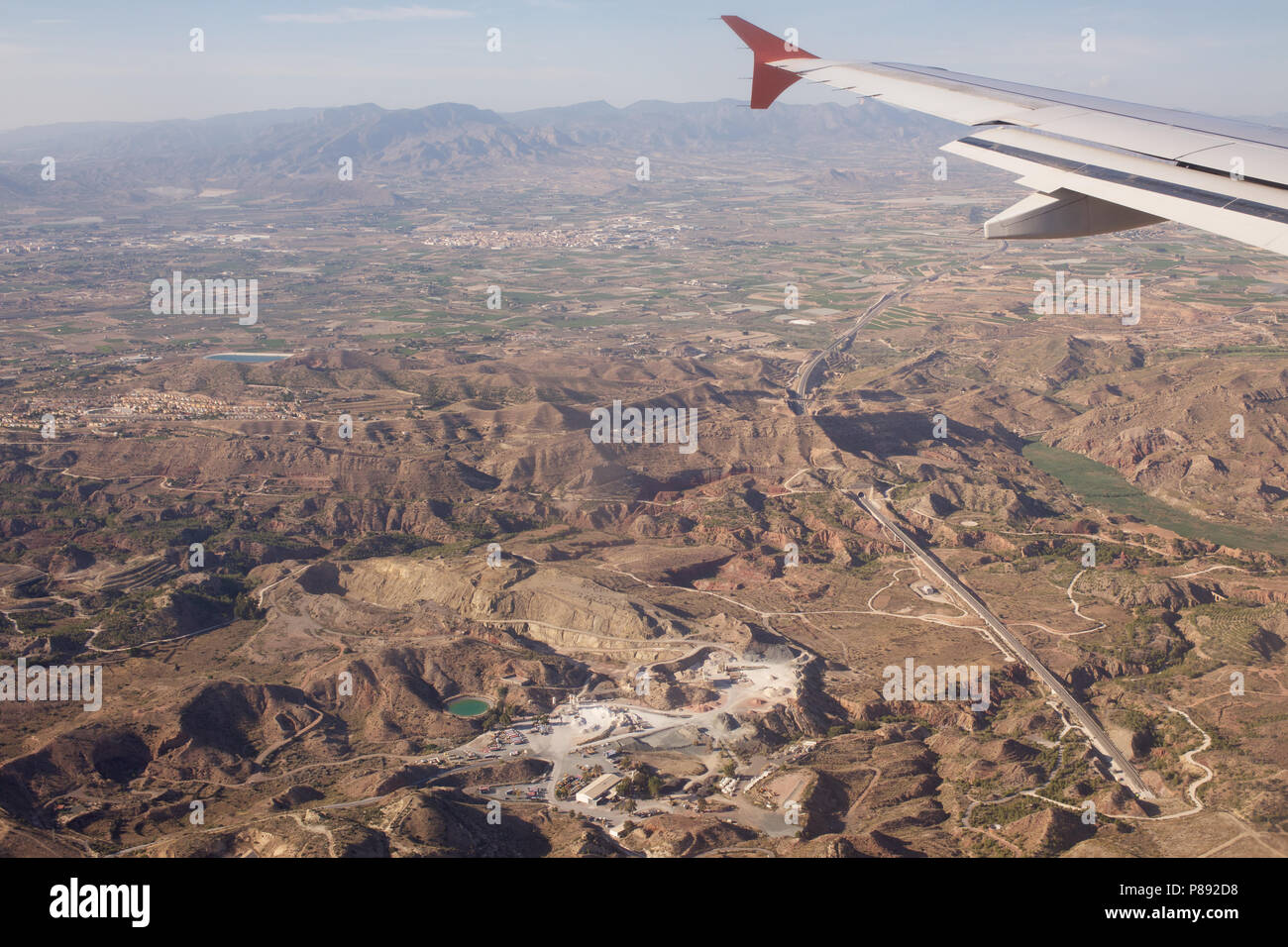 AVE High Speed Railway line in the countryside of Alicante Province in Spain viewed from an aircraft - Stock Image