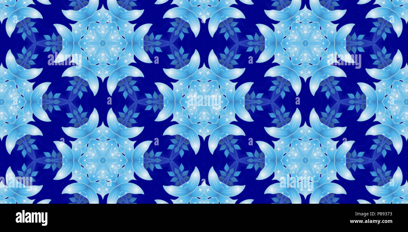 Digital Fractal 3d Design Kaleidoscopic Background In Blue And