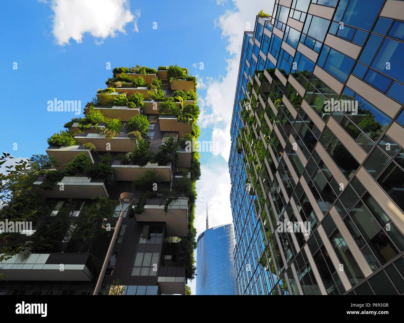 MILAN, ITALY - May 12, 2018: Bosco Verticale - Vertical Forest skyscraper with trees growing on balconies. Stock Photo