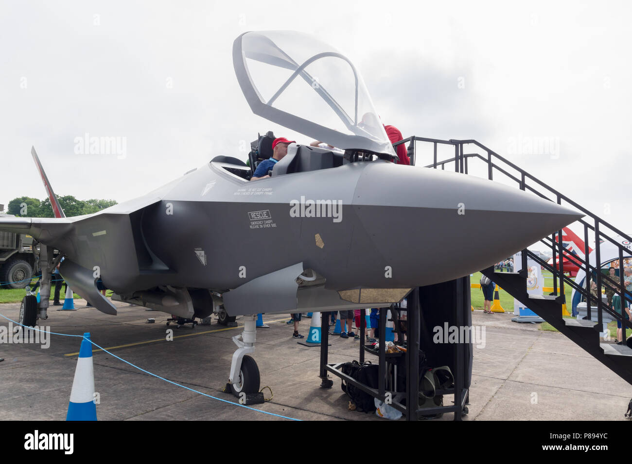 Lockheed Martin F35 Lightning II mock up on display at the air show in Cosford 2018 the RAFs latest 5th generation - Stock Image