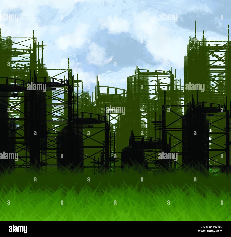 post apocalyptic citysacpe - Stock Image