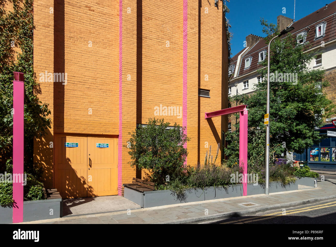 The Pocket Park, a pollinator-friendly garden, designed by Zandra Rhodes and Joe Swift at the Greenwood Theatre, Southwark, London, England, UK - Stock Image