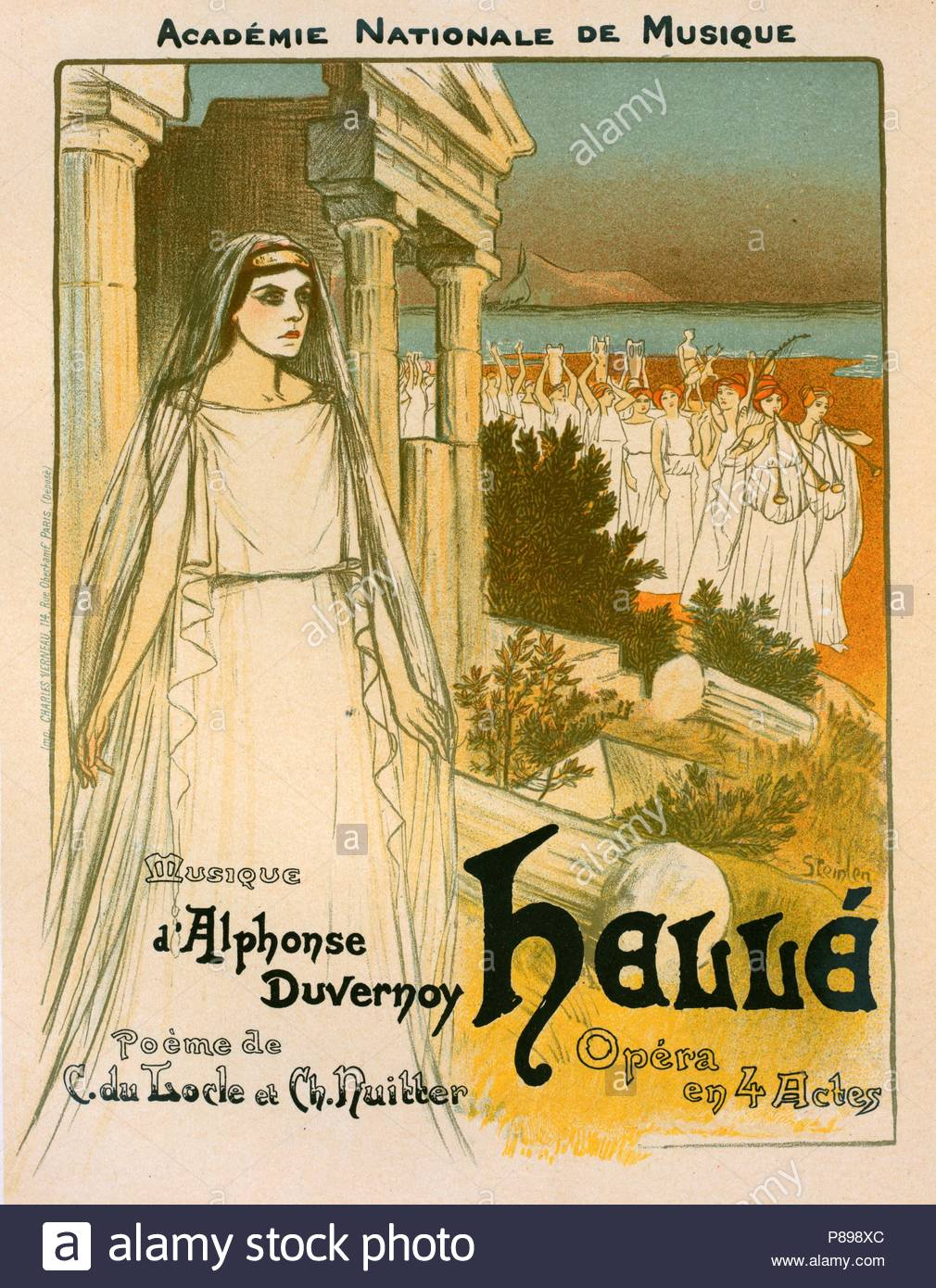 Poster for l'opéra Hellé, représenté au Théâtre national de l'Opéra, Théophile Alexandre Steinlen, frequently referred to as just Steinlen 1859 – 1923, a Swiss-born French Art Nouveau painter and printmaker. - Stock Image