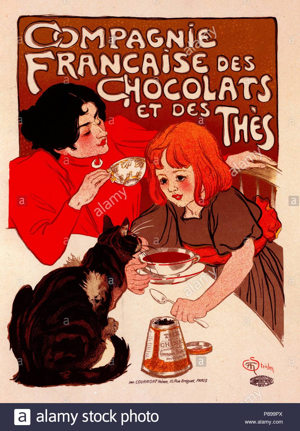 Poster for Chocolat de la Compagnie Française. Théophile Alexandre Steinlen, frequently referred to as just Steinlen 1859 – 1923, a Swiss-born French Art Nouveau painter and printmaker. - Stock Image