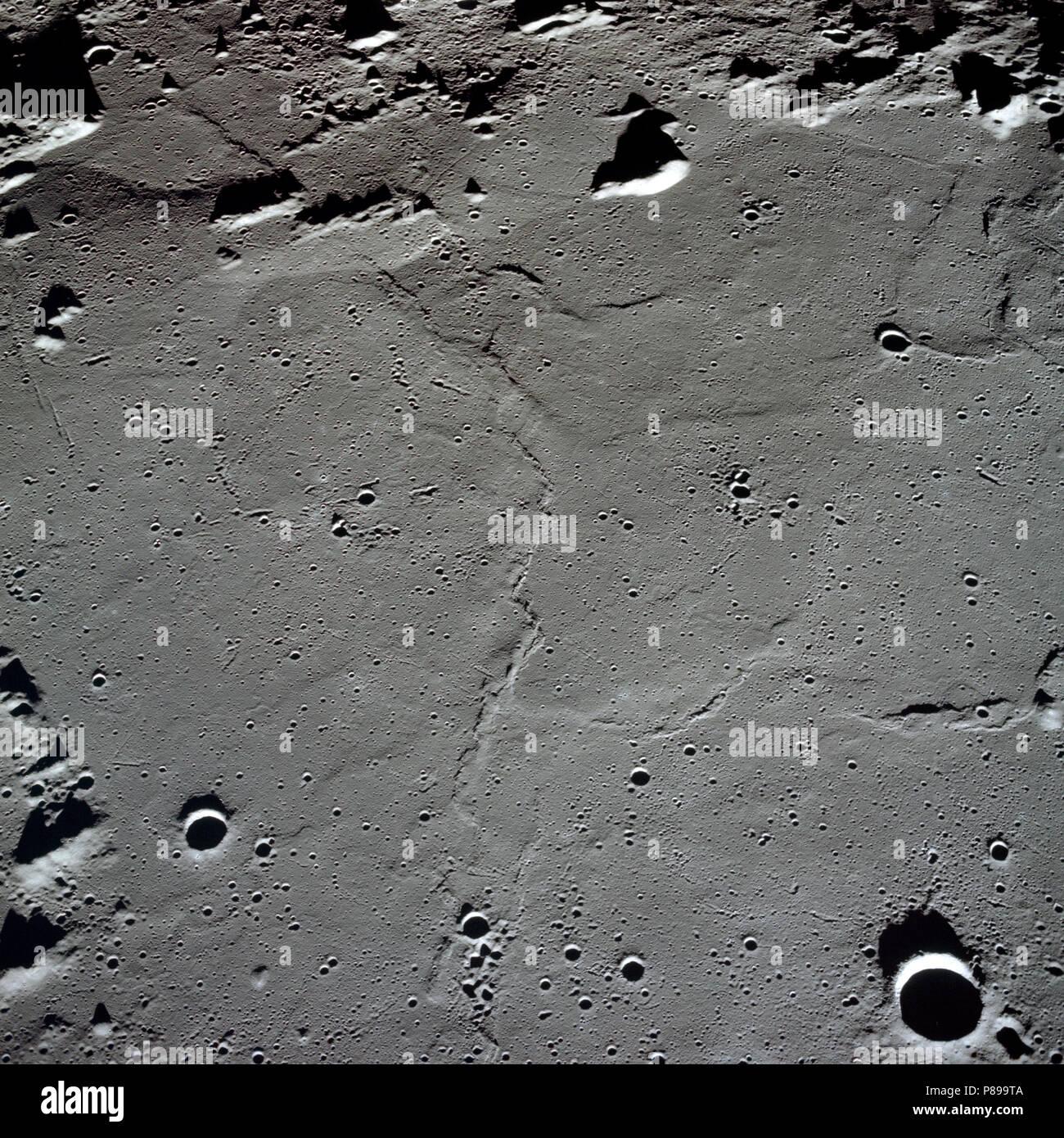 Apollo 10 photo of the lunar nearside looking westward across Apollo Landing Site 3 in Central Bay. - Stock Image
