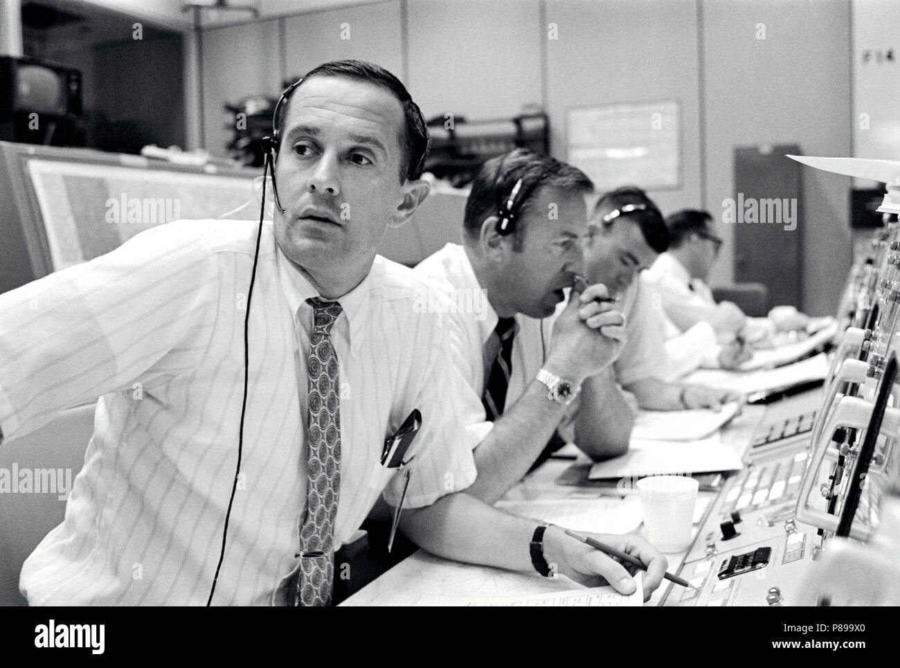 Black and white photo of NASA mission control (unknown if Florida or Houston) - Stock Image