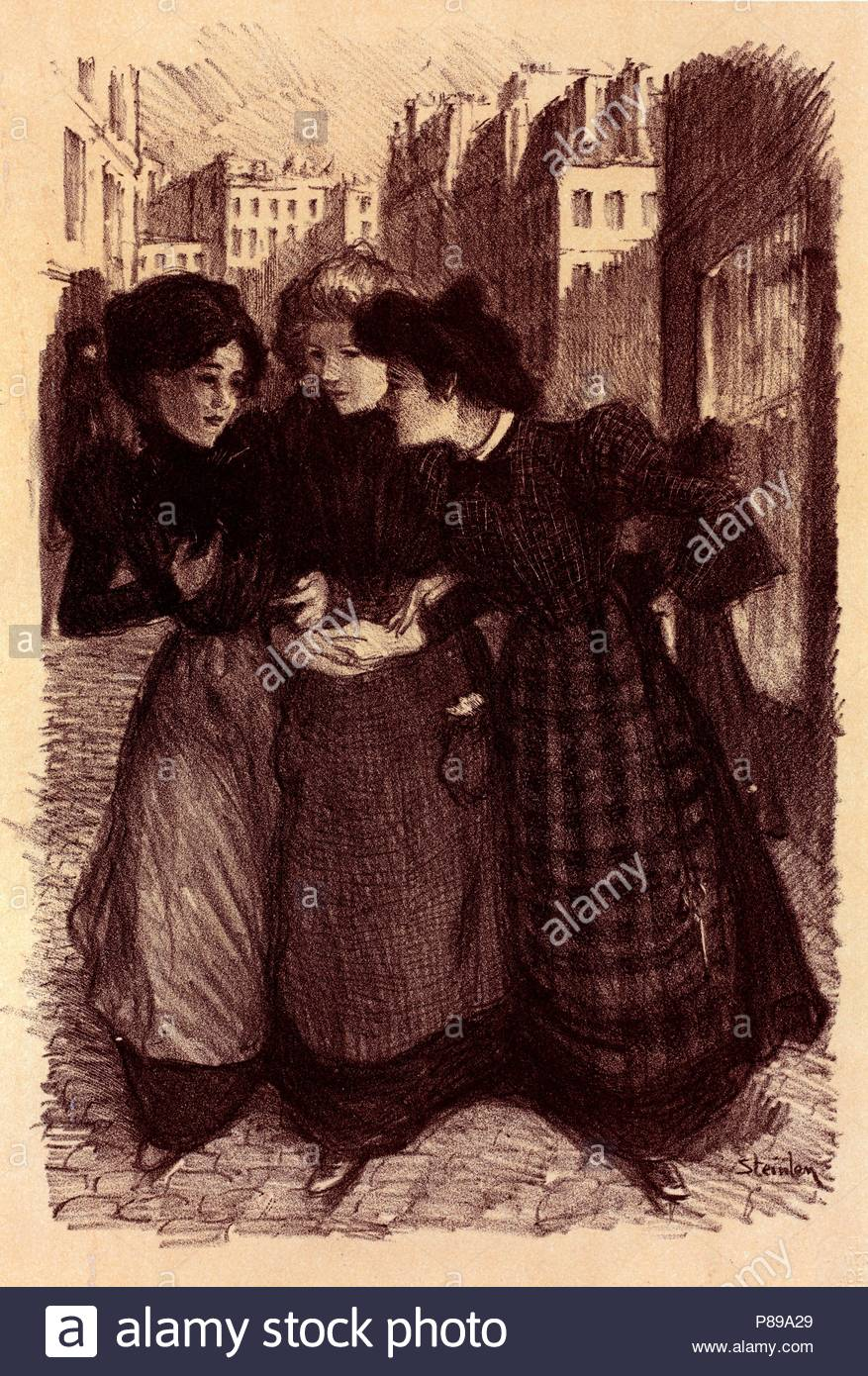 Poster or art work for Maîtres de l'Poster. Théophile Alexandre Steinlen, frequently referred to as just Steinlen 1859 – 1923, a Swiss-born French Art Nouveau painter and printmaker. - Stock Image