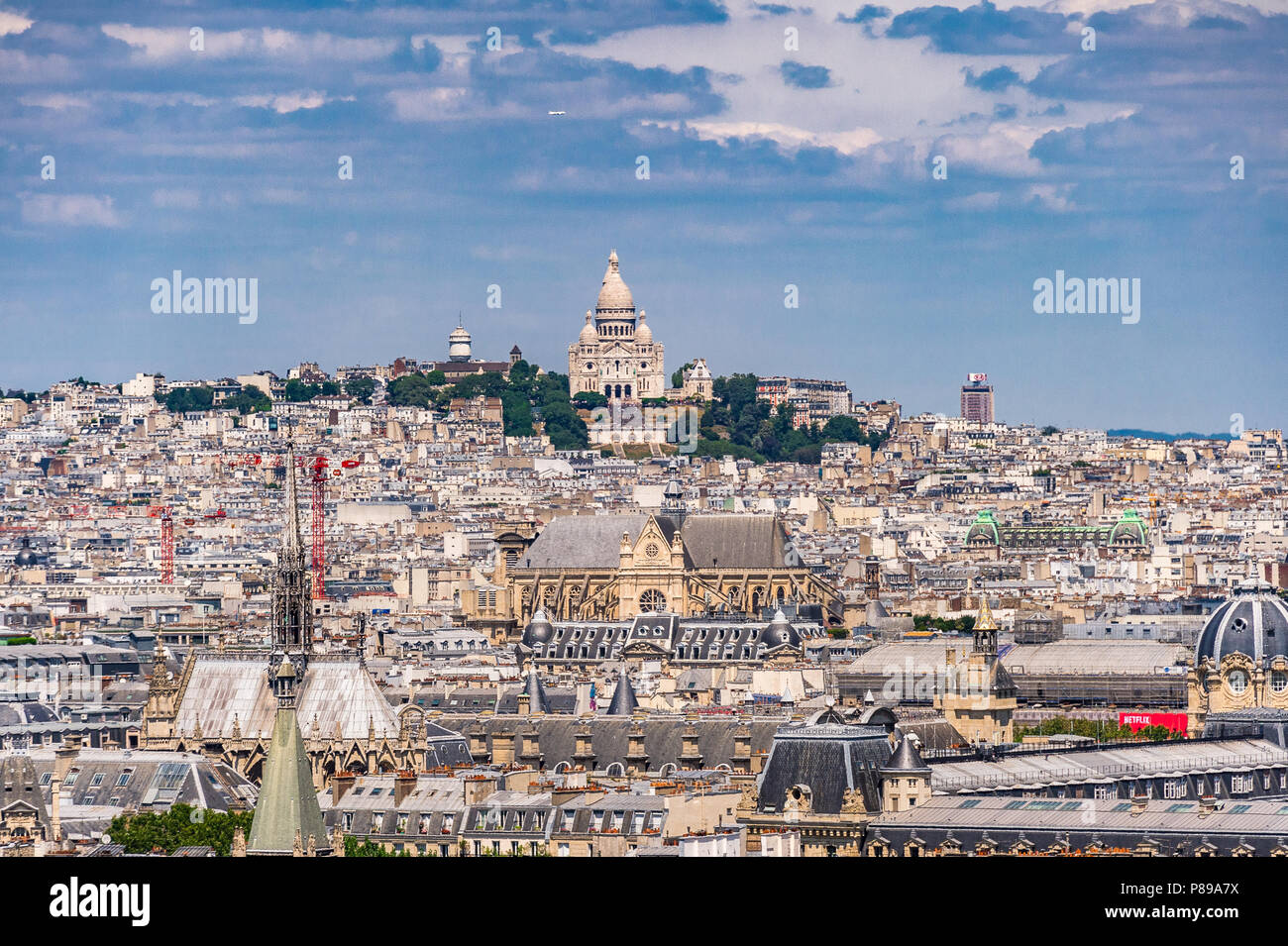 A view of butte Montmartre and Sacré Coeur from a view at the top of Pantheon in Paris, France - Stock Image