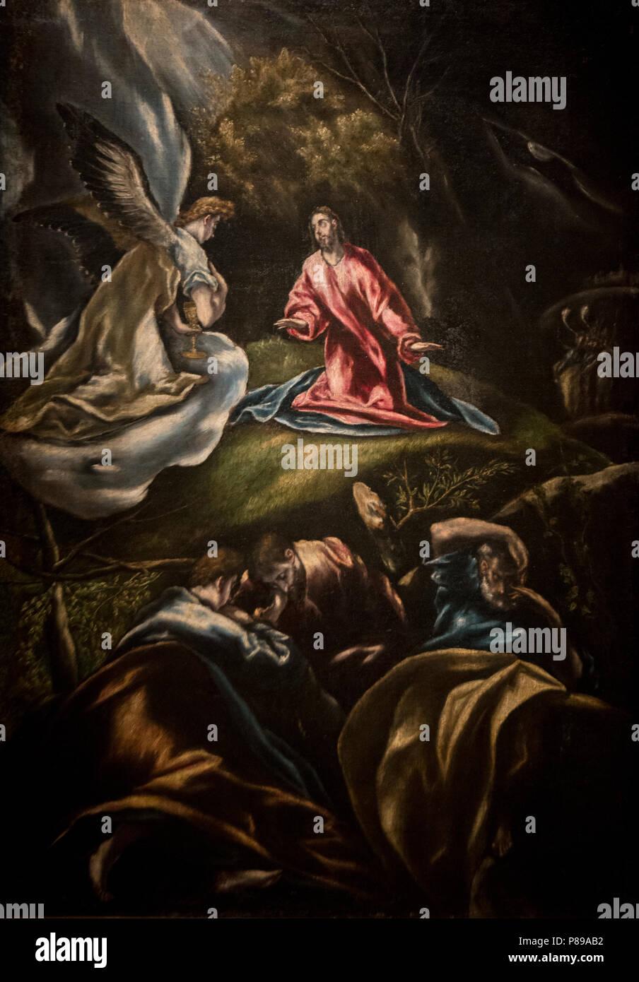 El Greco - Jesus in the Garden of Olives (Jesus en el Huerto de los Olivos) (1600-1607).jpg - Stock Image