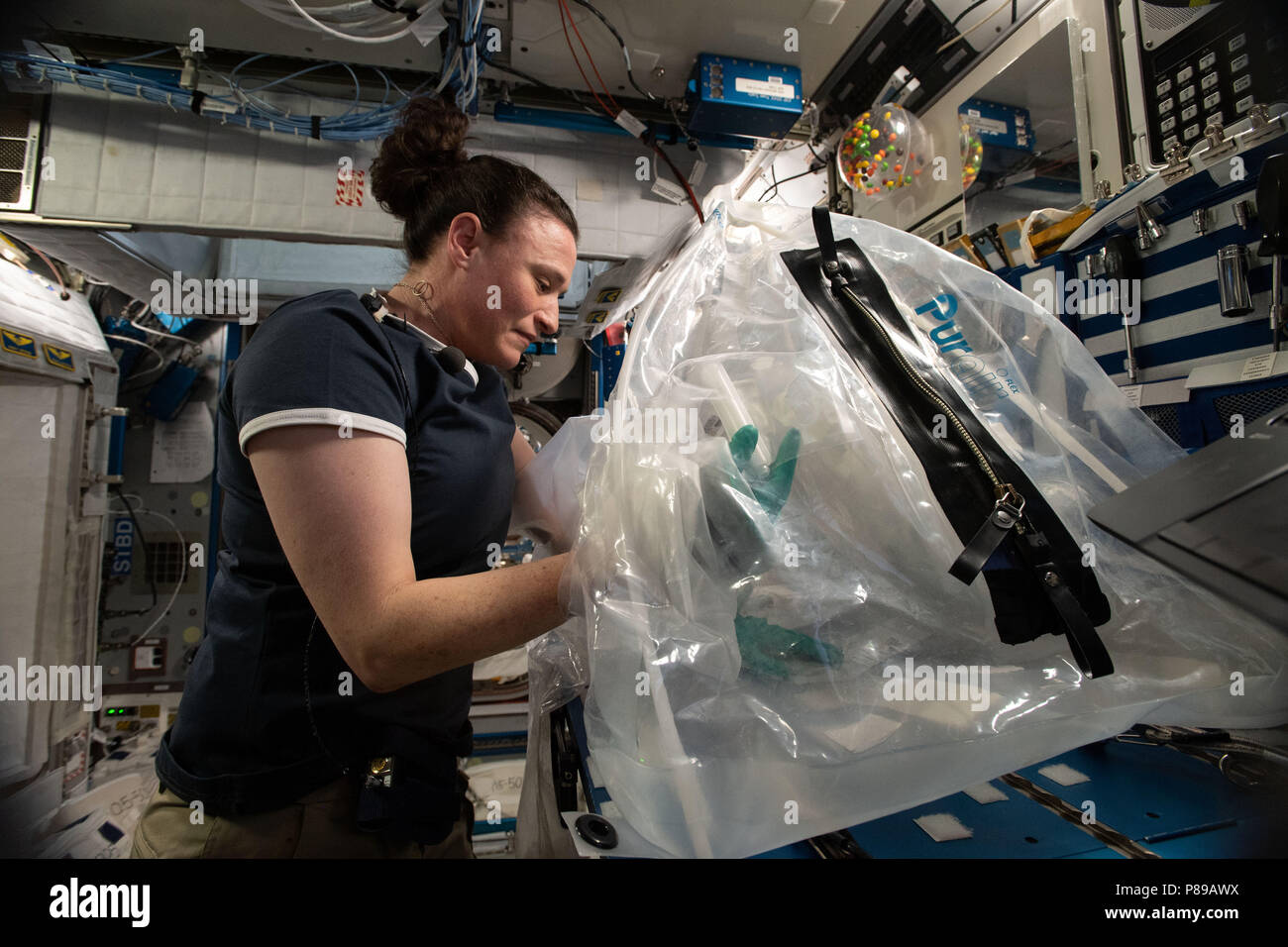 Expedition 57 crew members Serena Aunon-Chancellor of NASA works on the Microgravity Investigation of Cement Solidification experiment aboard the International Space Station June 26, 2018 in Earth Orbit. - Stock Image