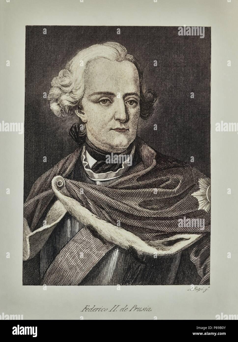 CASA REAL ALEMANA. Retrato de FEDERICO II de Prusia (1712-1786). Colección particular, Madrid. - Stock Image