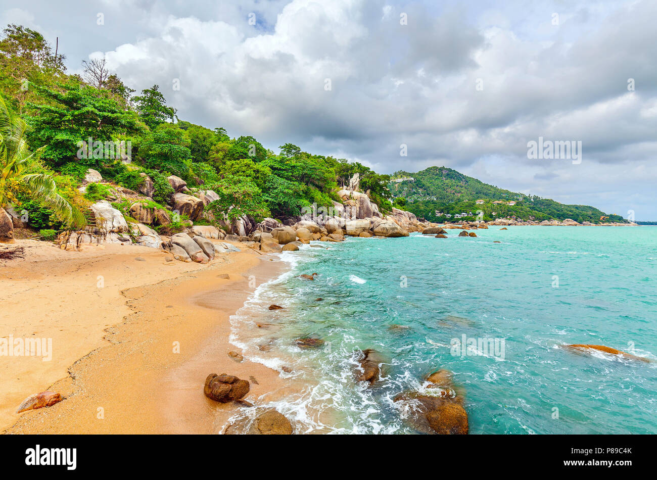 Beautiful beach on the island of Koh Samui in Thailand. Stock Photo