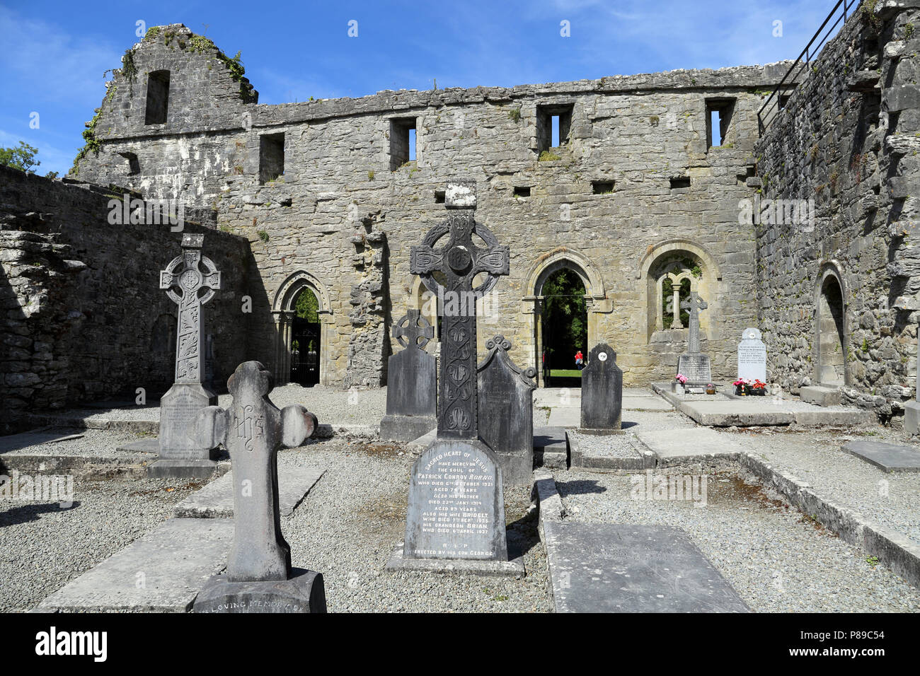 Cong Abbey is a historic site located at Cong, on the borders of counties Galway and Mayo, in Ireland's province of Connacht. The ruins of the former  - Stock Image