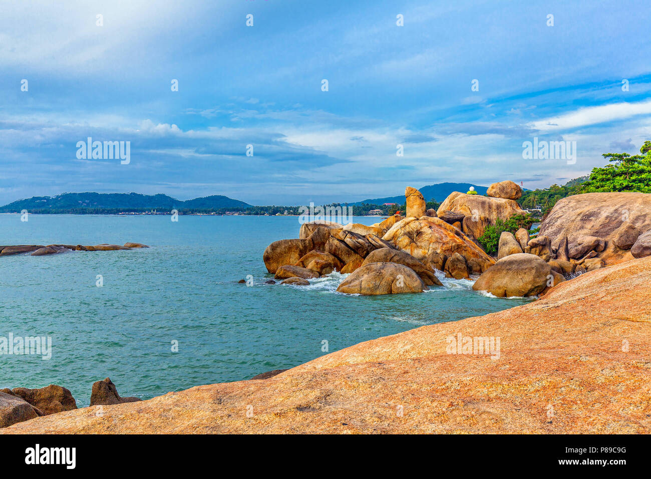 Hin Ta and Hin Yai Rocks. A famous place on the island of Koh Samui in Thailand. Stock Photo