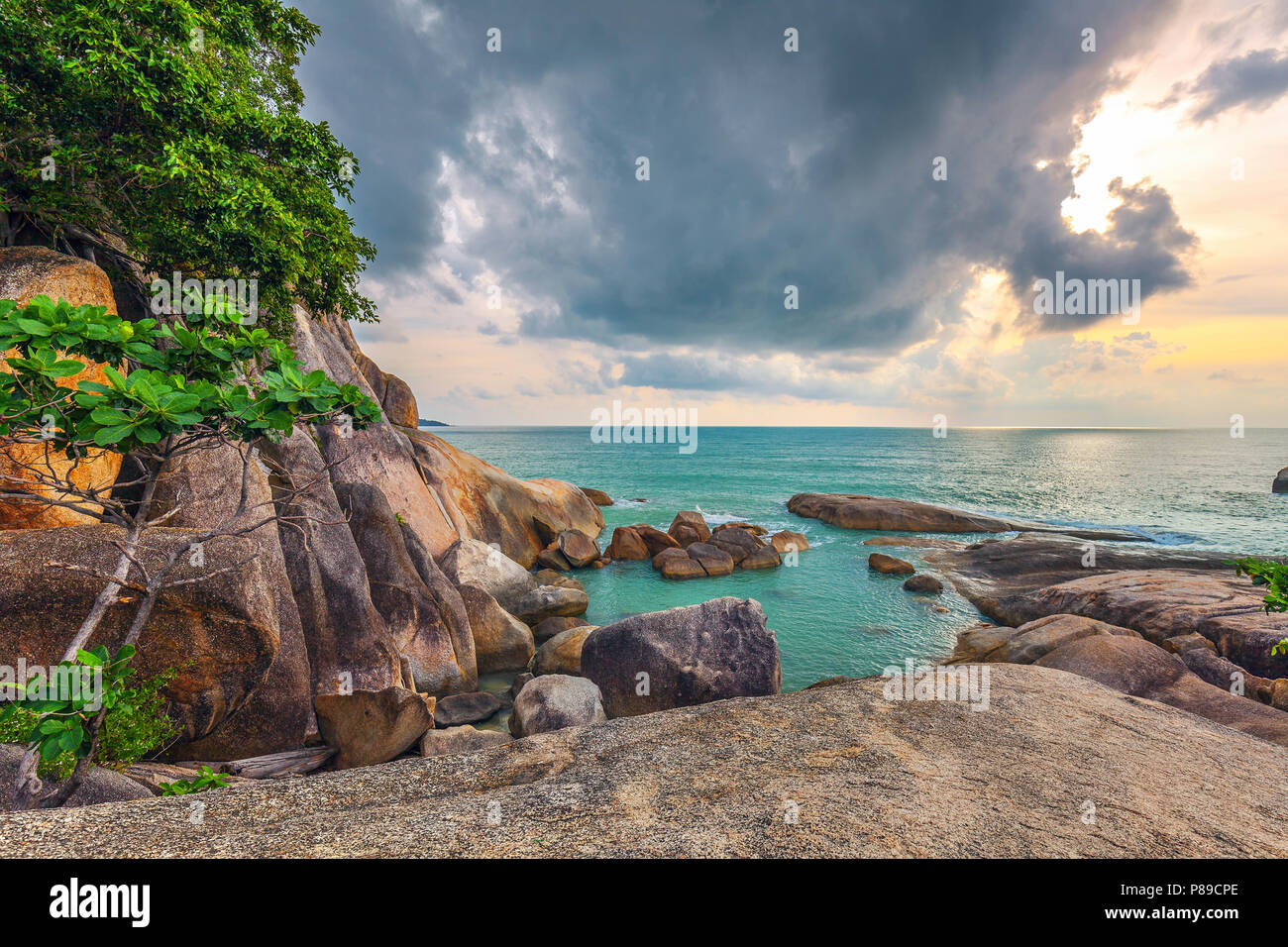 Famous place on the island of Samui - Rocks Hin ta and Hin yay, - Stock Image