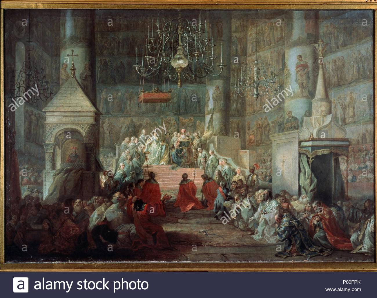 The Coronation of the Empress Catherine II of Russia on 12 September 1762.  Museum: State Tretyakov Gallery, Moscow.