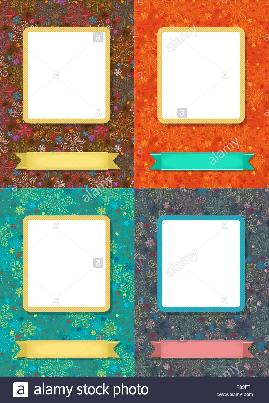Set Of Greeting Cards Graceful Geometric Floral Patterns Frames