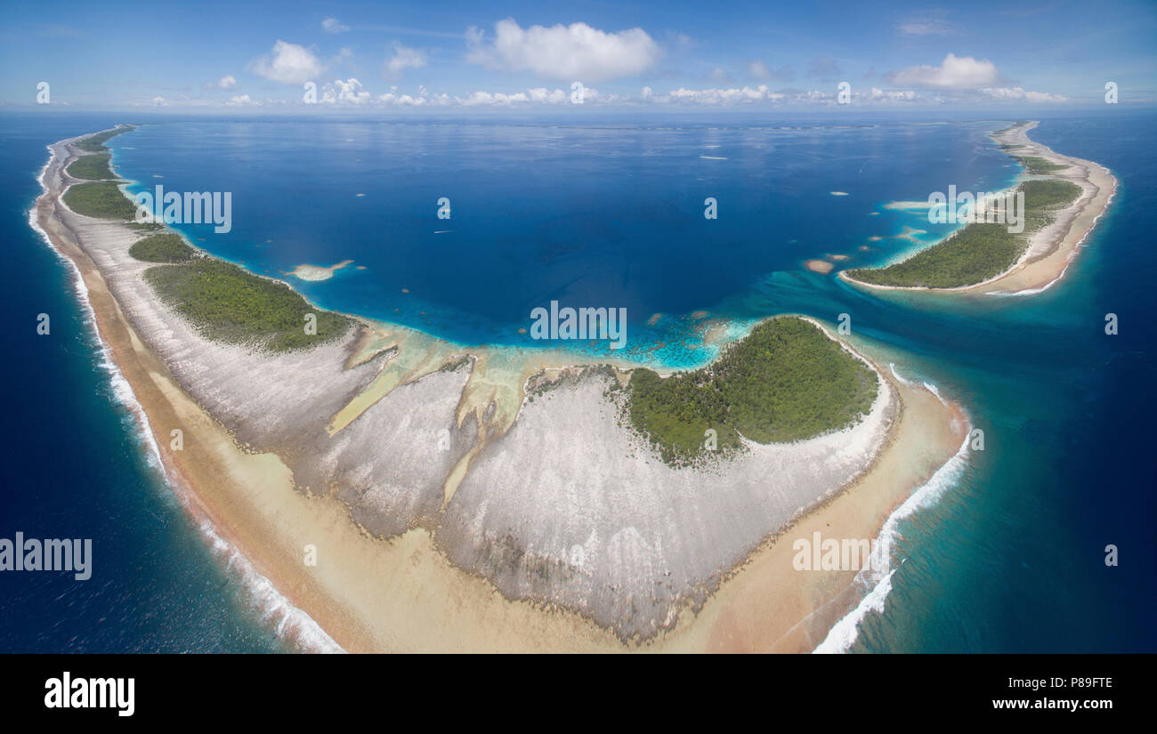 Aerial view of Ahe Atoll, Tuamotus, French Polynesia - Stock Image