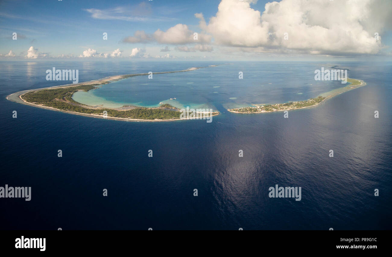 Aerial view of Manihi Atoll, French Polynesia - Stock Image