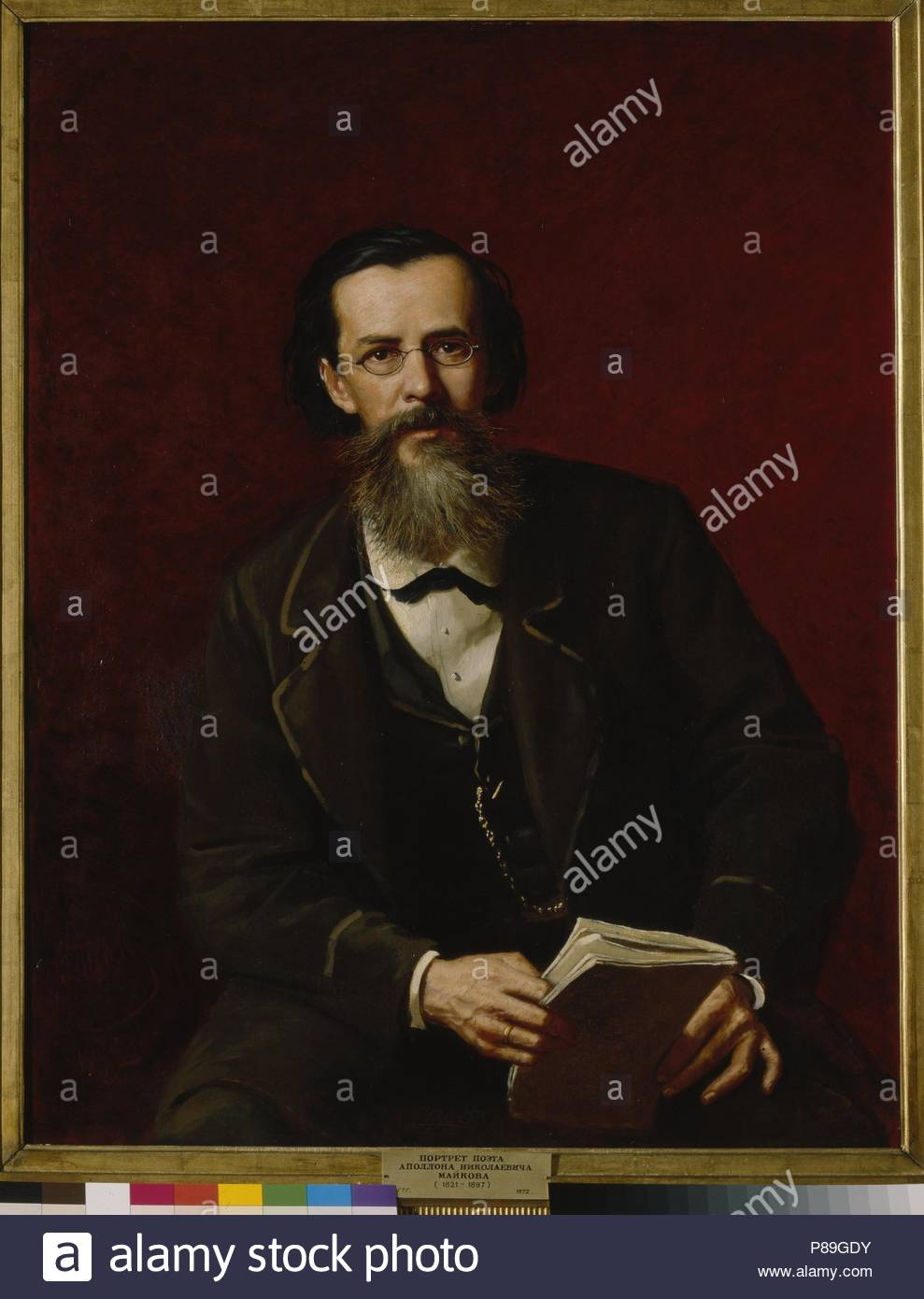 Portrait of the poet Apollon Maykov (1821-1897). Museum: State Tretyakov Gallery, Moscow. - Stock Image