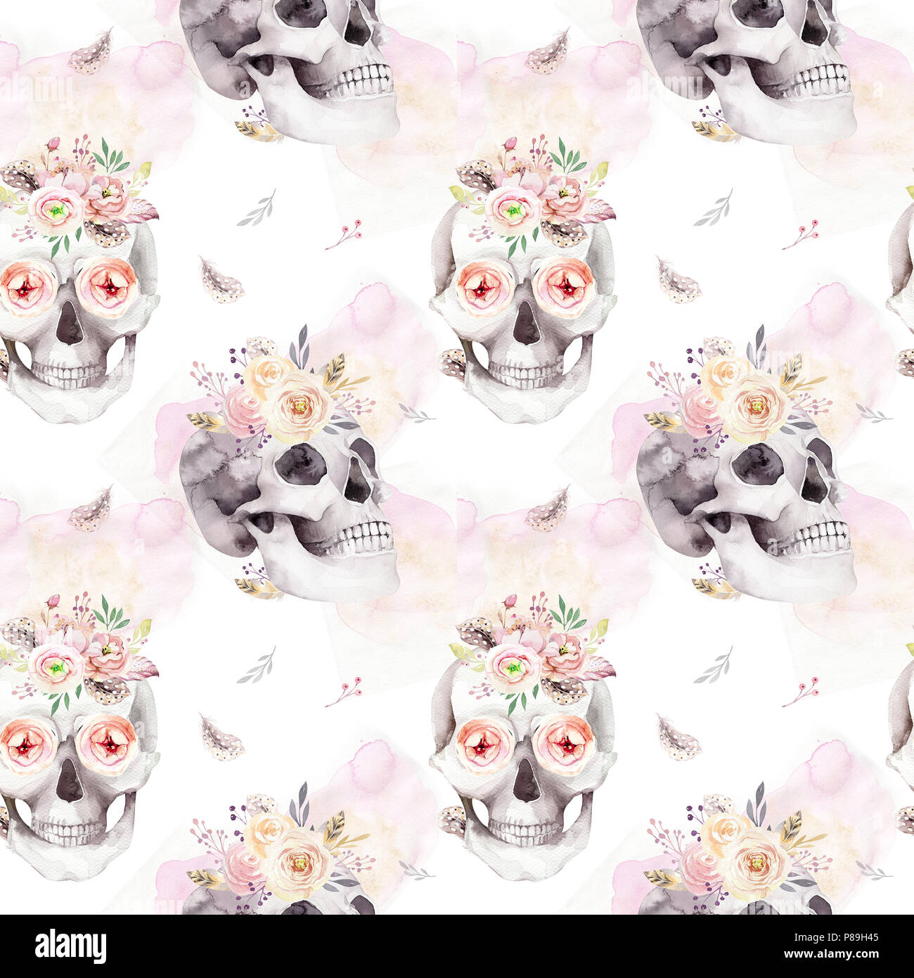 Vintage Watercolor Patterns With Skull And Roses Wildflowers And