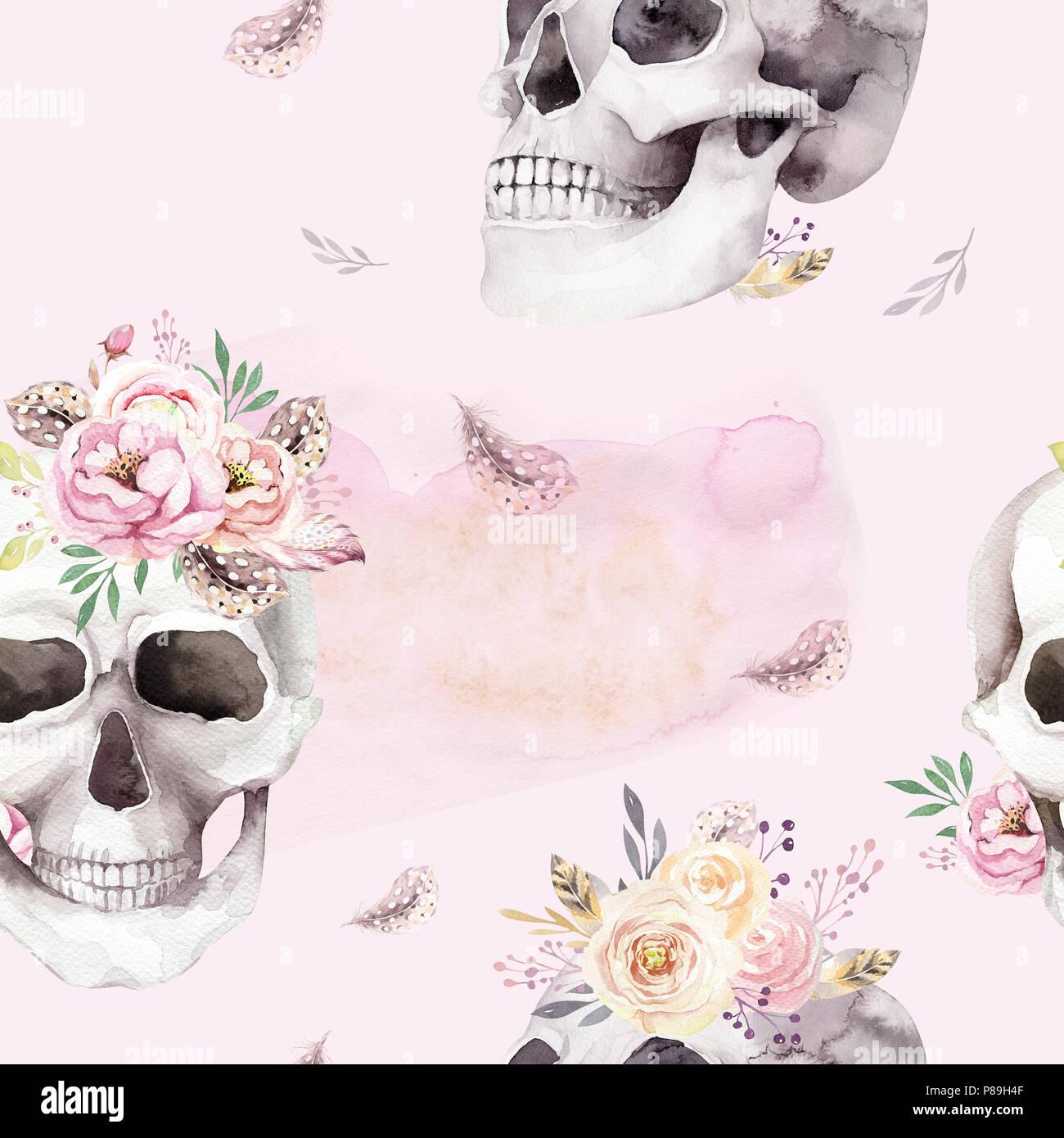 Tattoo Style Skull Illustration Stock Photos & Tattoo