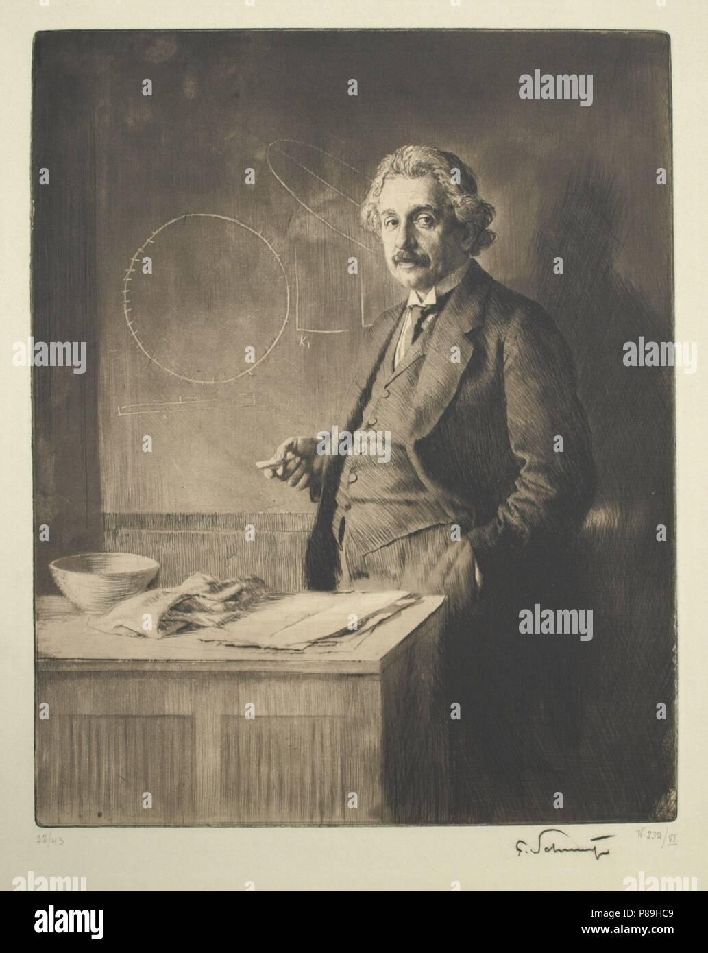 Portrait of Albert Einstein (1879-1955). Museum: Sigmund Freud Museum, Vienna. - Stock Image