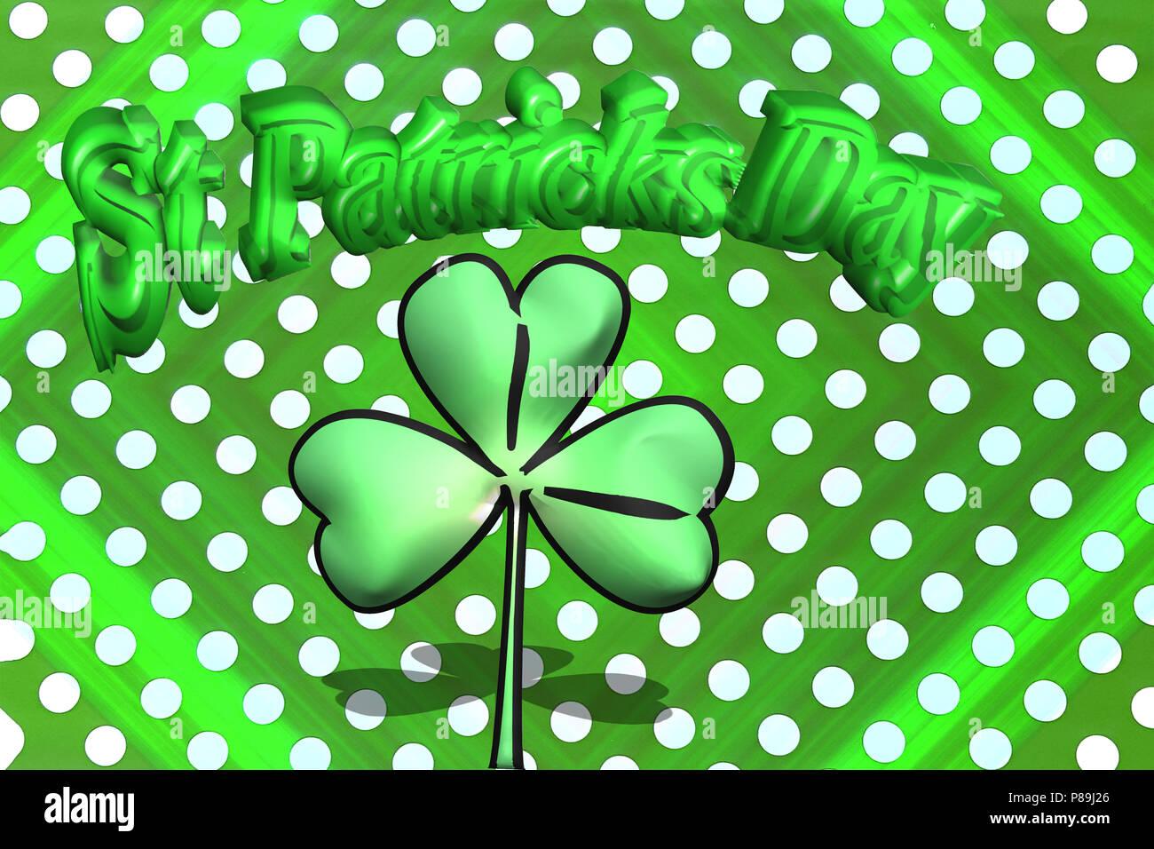 St. Patricks Tag Postkarte / Glückwunsch Karte mit Kleeblatt-Rahmen und Kleeblatt Wasserzeichen - Stock Image