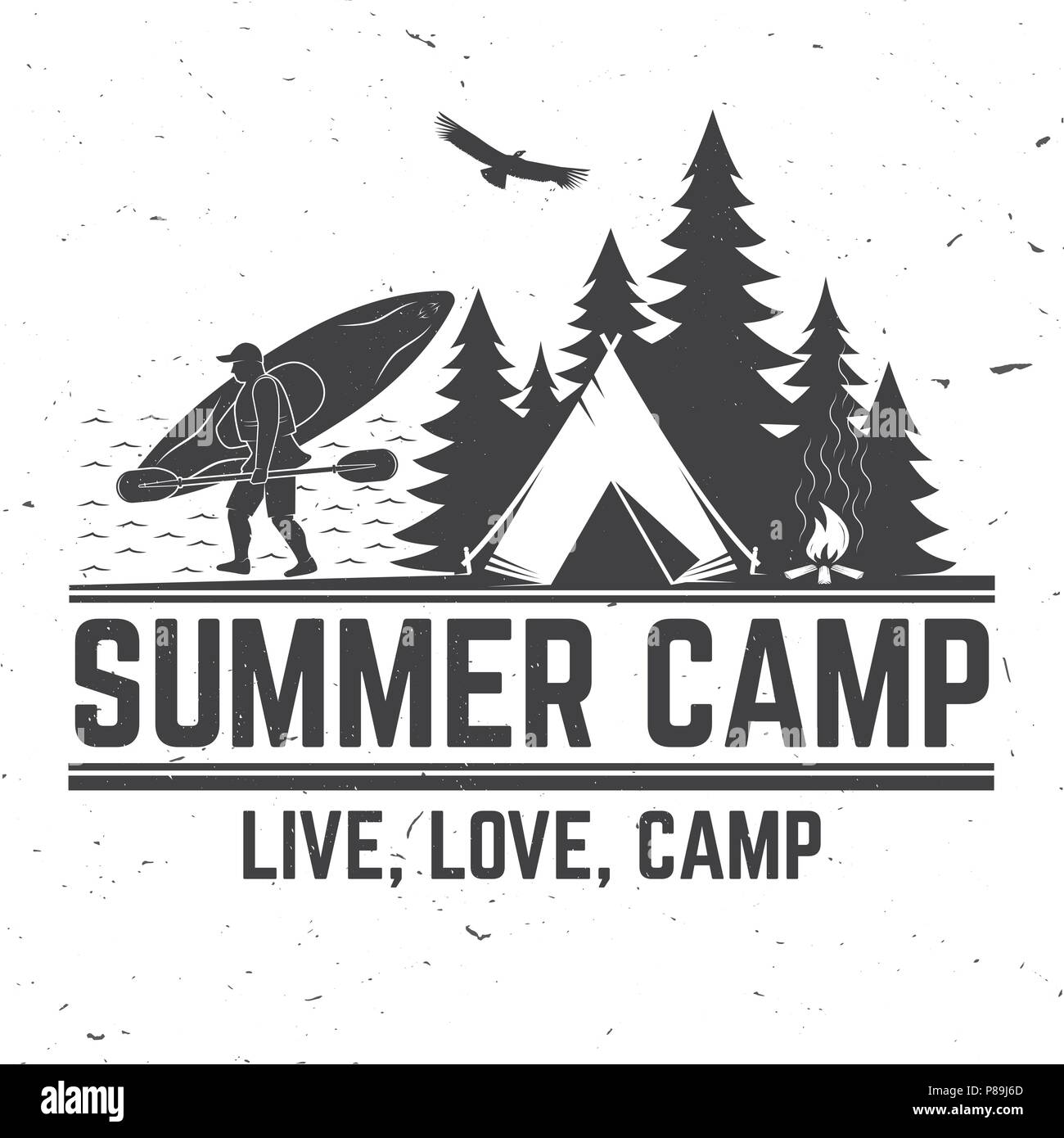 Summer camp. Vector illustration. Concept for shirt or logo, print, stamp or tee. Vintage typography design with canoe, paddle, camping tent and forest silhouette. - Stock Vector