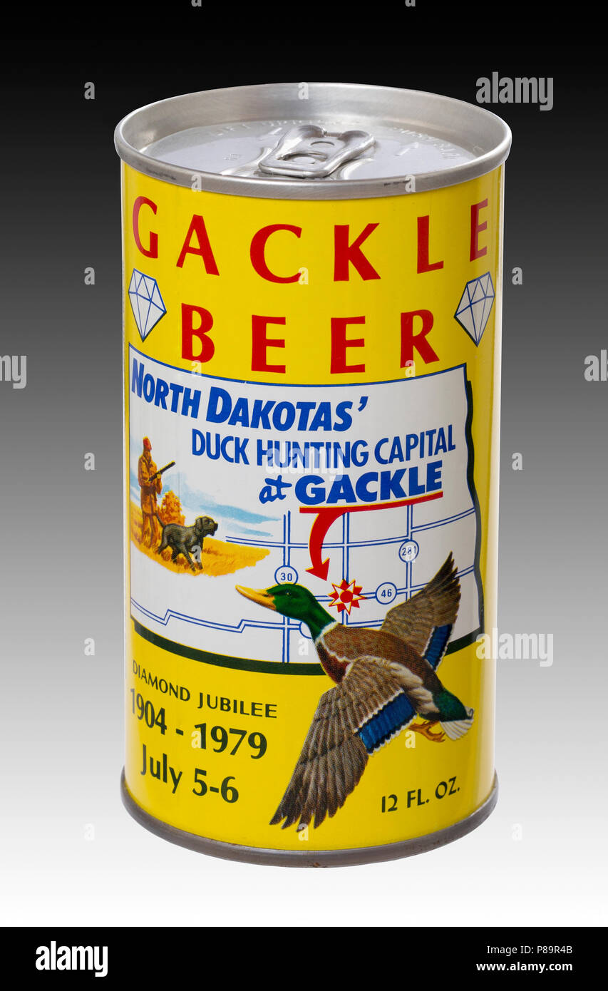 The front of a beer can commemorating Gackle, North Dakota's 1979 Diamond Jubilee celebration and its distinction as being North Dakota's Duck Hunting - Stock Image